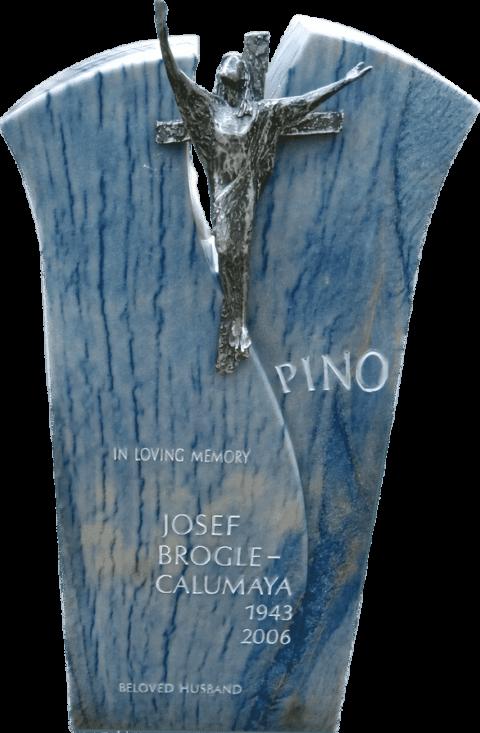 Moderner Grabstein aus Azul Macauba, Jesus aus Aluminium