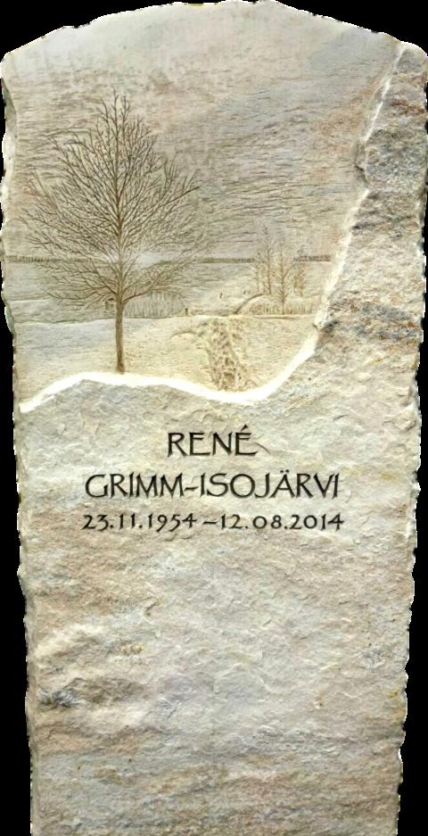 Grabstein aus Crevola Krustenmarmor mit einer feinen Gravur eines herbstlichen Baumes und Landschaft