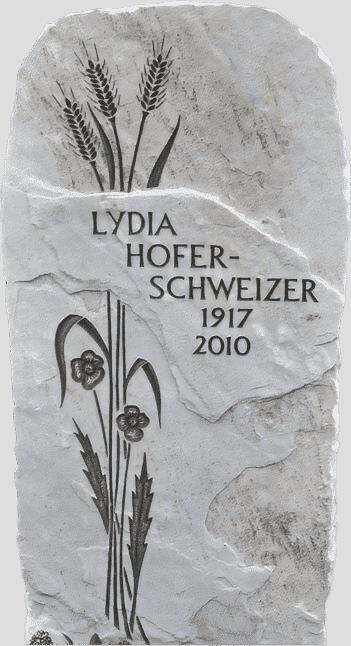 Grabstein mit Ähren- und Blumengravur aus Crevola Marmor