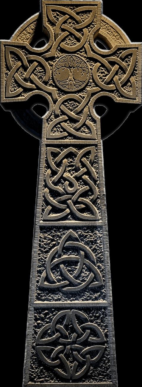 Grabstein in Form eines Irischen Hochkreuz aus Berner Krauchthaler Sandstein mit keltischem Knotenflechtwerk und Lebensbaum Yggdrasil. Irish Cross