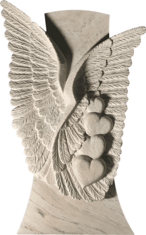 Grabstein Doppel-Engelsflügel mit Herzen aus Crevola Marmor
