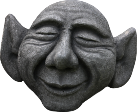 Unikate Steinskulptur aus Naturstein in Form eines Gnomkopfes