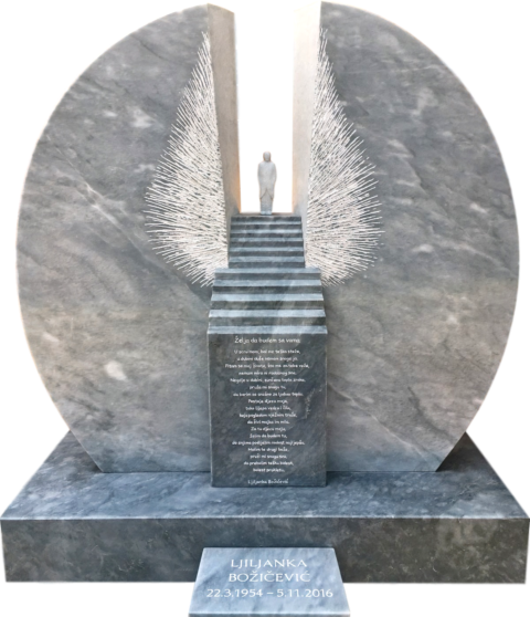 Moderne Adaption eines Engels mit Flügeln und der Himmelstreppe als Grabstein in Kaplan Marmor