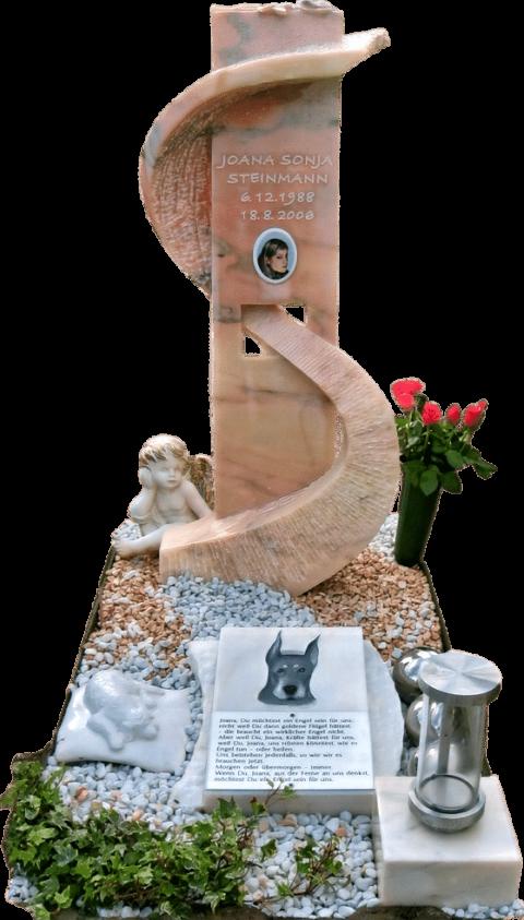 Moderner Grabstein aus Estremoz mit Schwung und Durchbruch, die vorgelagerte Schriftplatte zeigt einen Dobermann als Flachrelief