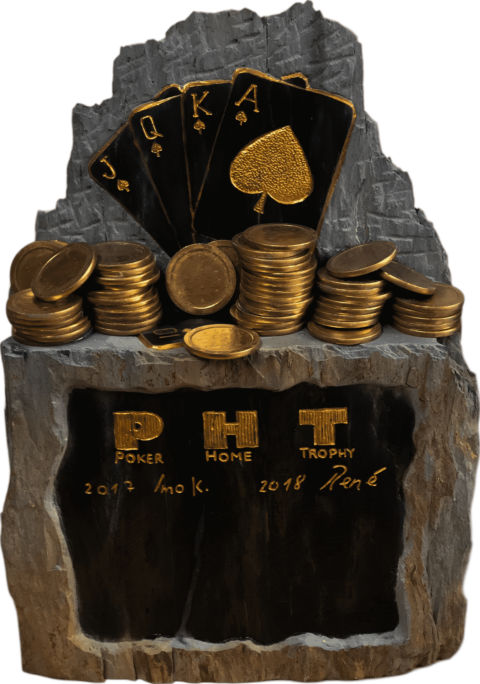 Pokerpokal Statue aus Schiefer mit Goldfarbe