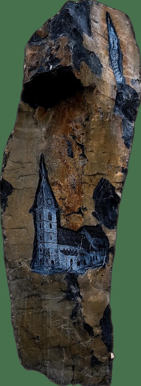 Skulptur aus Basalt mit Radierungen der Stadt Zofingen