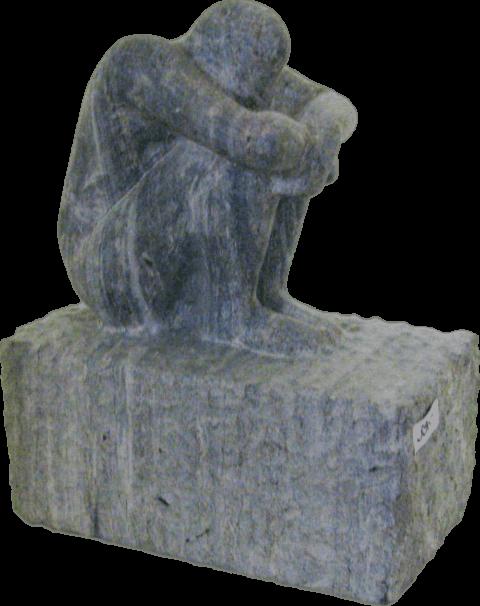 Skulptur aus Naturstein: Sitzender Mann aus Azul