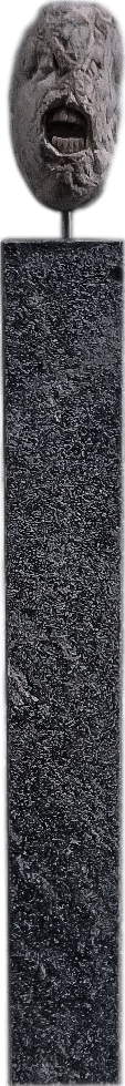 Stein mit Gebiss: Unikate Steinskulptur aus Naturstein mit Zähnen