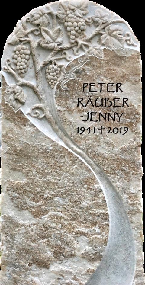 Grabstein aus Palissandro Crevola Marmor mit einem Relief einer Weinrebe mit Blätter, Ranken und Trauben